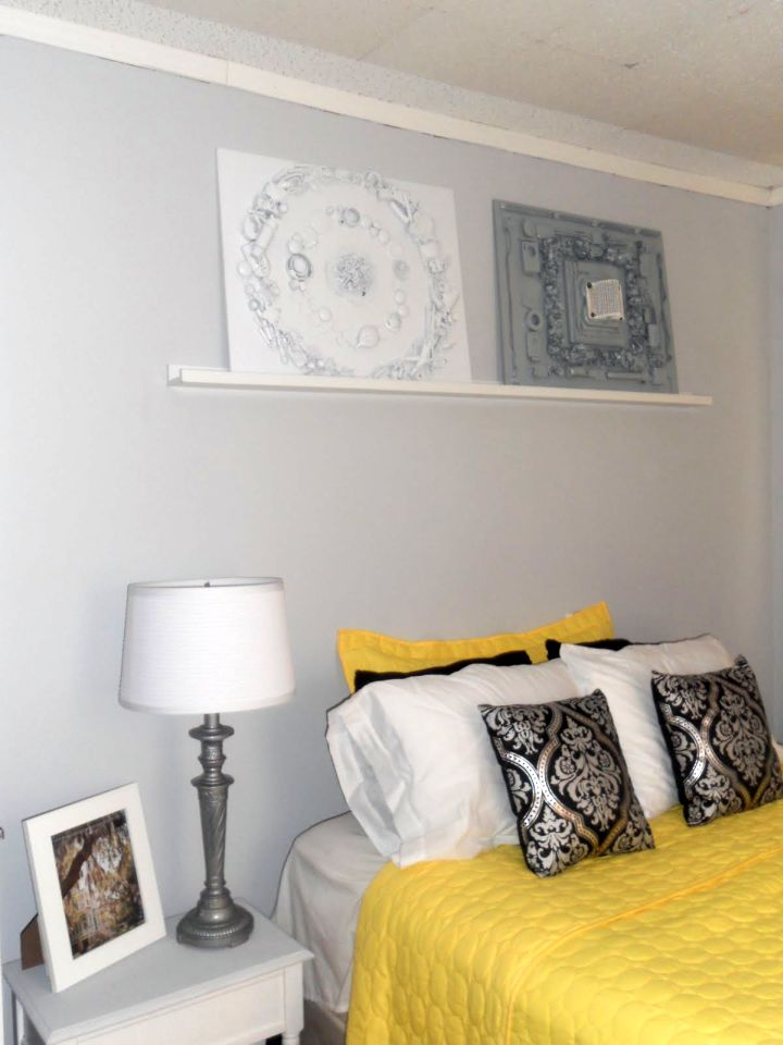 plush yellow gray bedroom
