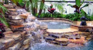 pool waterfall ideas with jacuzzi