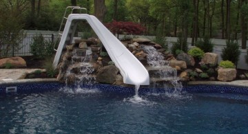 pool waterfall ideas with white slide