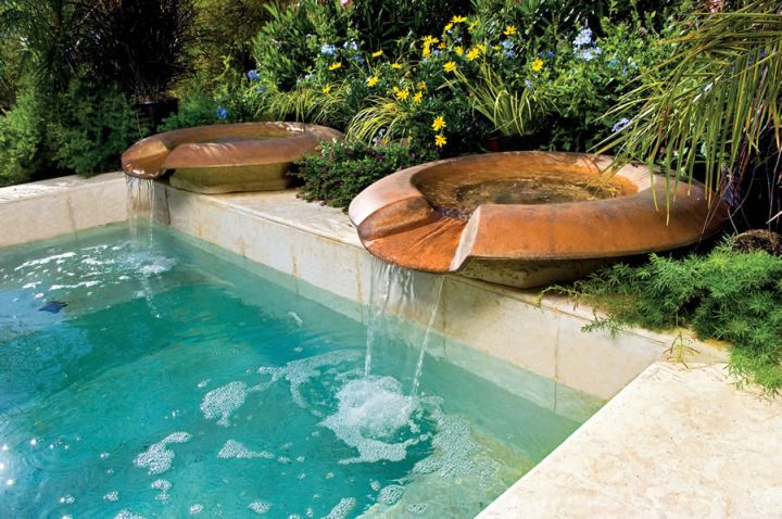 pools with waterfalls with unique fountain