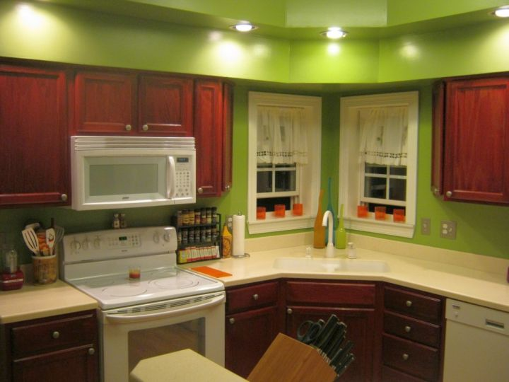 popular cabinet colors red lacquer with green walls