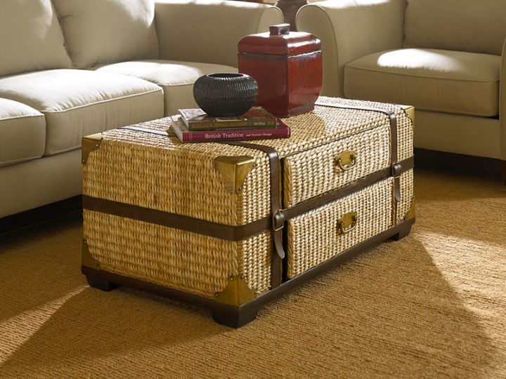 rattan trunk coffee table