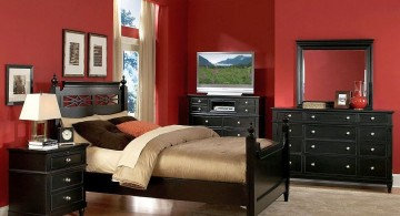 red bedroom walls with dark wood furniture set