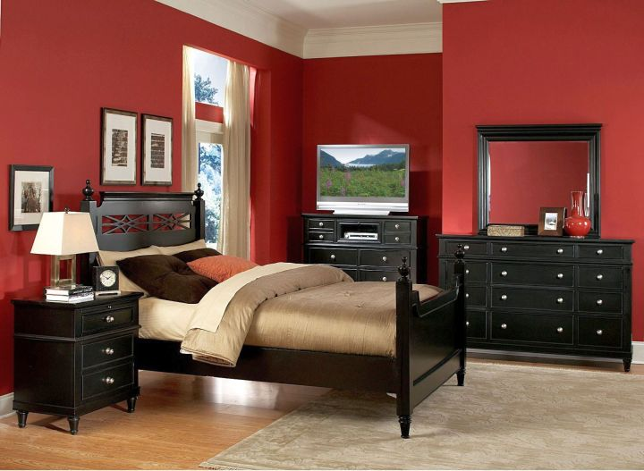 dark red bedrooms