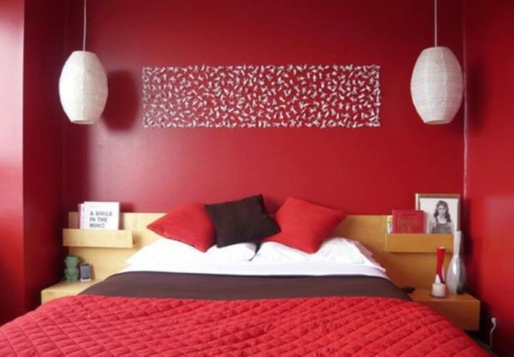 Red Wall Decor Bedroom Ideas Red Walls Wall White Headboard In Decor