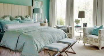 relaxing bedroom ideas in bright turquoise