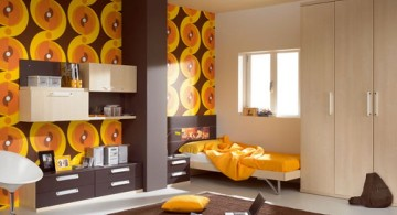 retro bedroom ideas in black and orange
