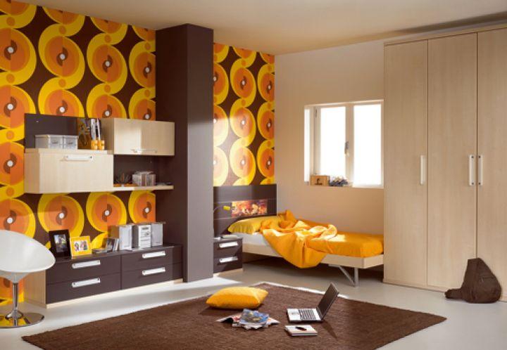 retro bedroom ideas in black and orange