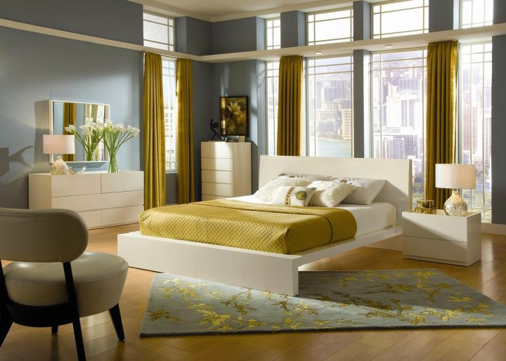 retro bedroom ideas with mustard yellow curtain