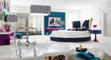retro bedroom ideas with round bed