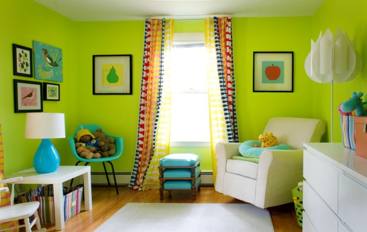 retro lime green bedroom