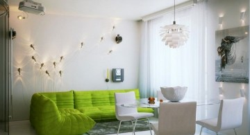 retro modern decor in white and green
