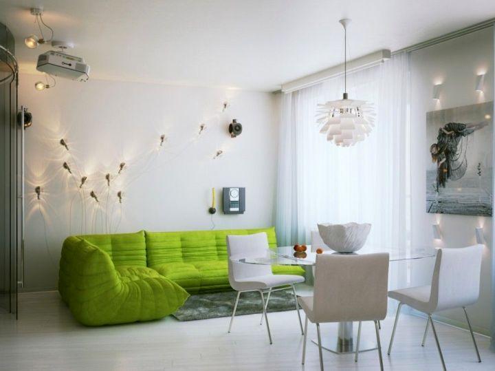 retro modern decor in white and green
