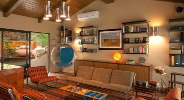 retro modern decor with hanging chair