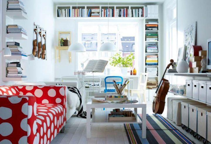 retro modern decor with polkadot sofa