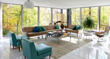 retro modern decor with tall floor lamp