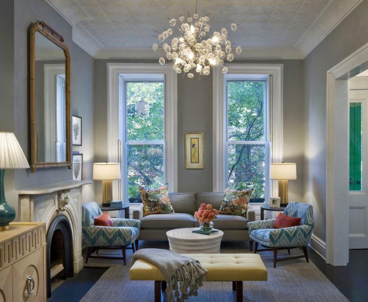 retro modern decor with unique chandelier