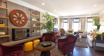 room arrangements with dark floor and modular sofa