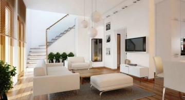 room arrangements with wooden floor and white furniture