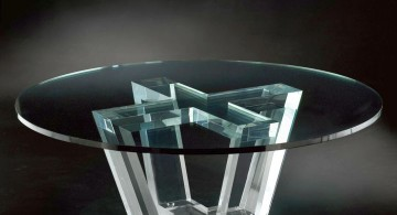 round acrylic cocktail table with crossed legs