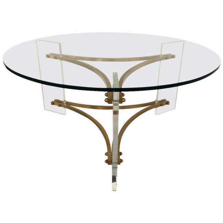 round acrylic cocktail table with unique stand