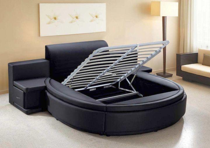 round bed frame with hidden storage