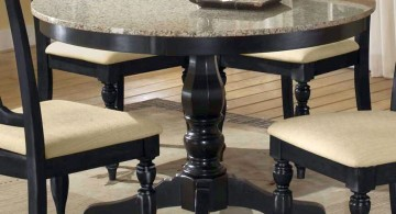 round granite dining room table with classic spindle leg