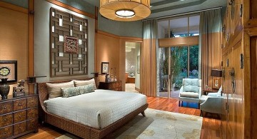 rustic asian inspired bedroom with large pendant lamp