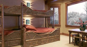 rustic bunk bedroom idea featuring lots of earth tone elements