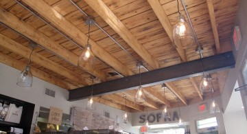 rustic exposed beam ceiling in a shop