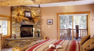 rustic gas fireplace bedroom stone fireplace