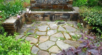 rustic simple rock garden ideas with fountain