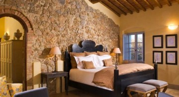 rustic tuscan bedroom furniture with stone wall panel
