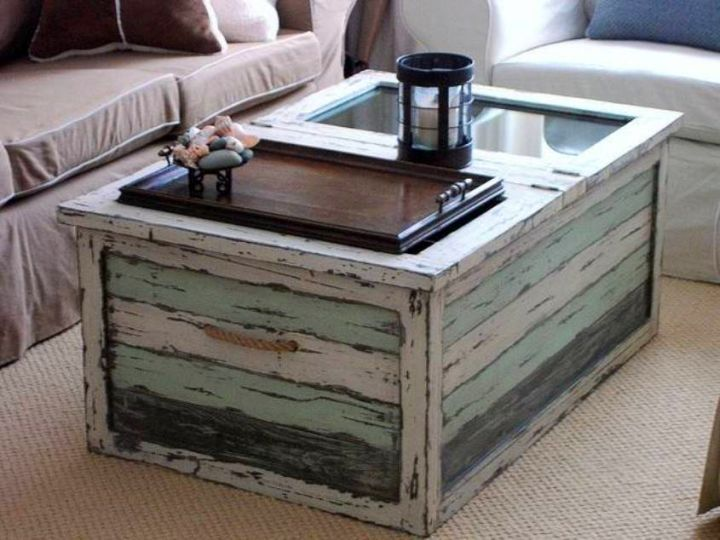 shabby chic trunk coffee table. Black Bedroom Furniture Sets. Home Design Ideas