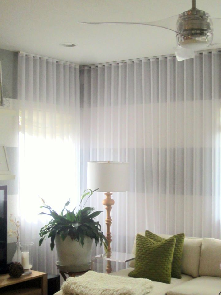 19 charming sheer curtain privacy designs for Sheer panel curtain ideas