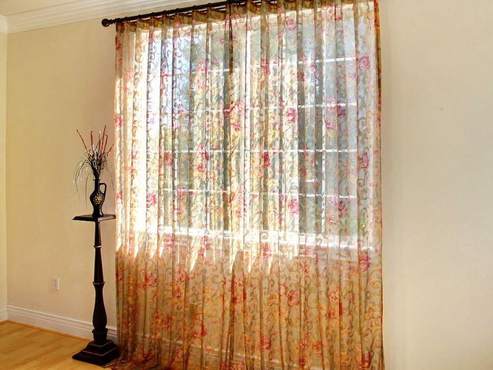 sheer curtains privacy with orange and red pattern