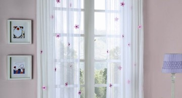 sheer curtains privacy with red flowers