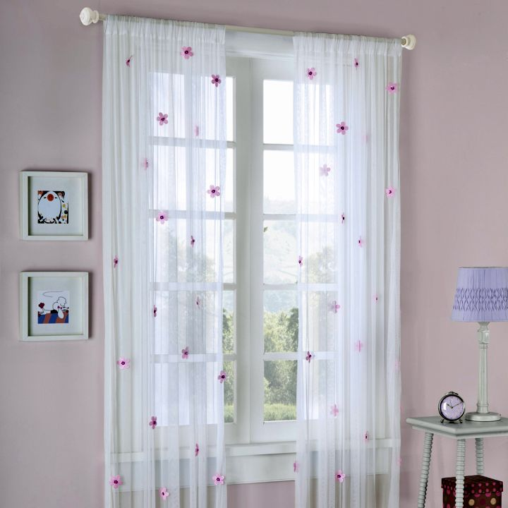 Sheer curtains privacy with red flowers for Sheer drapes privacy