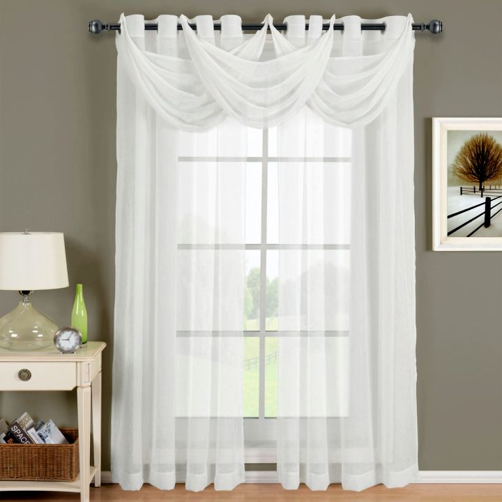 Sheer curtains privacy with trio swag for Sheer drapes privacy