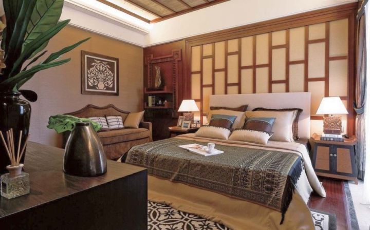 simple asian inspired bedroom with paper door wall panel