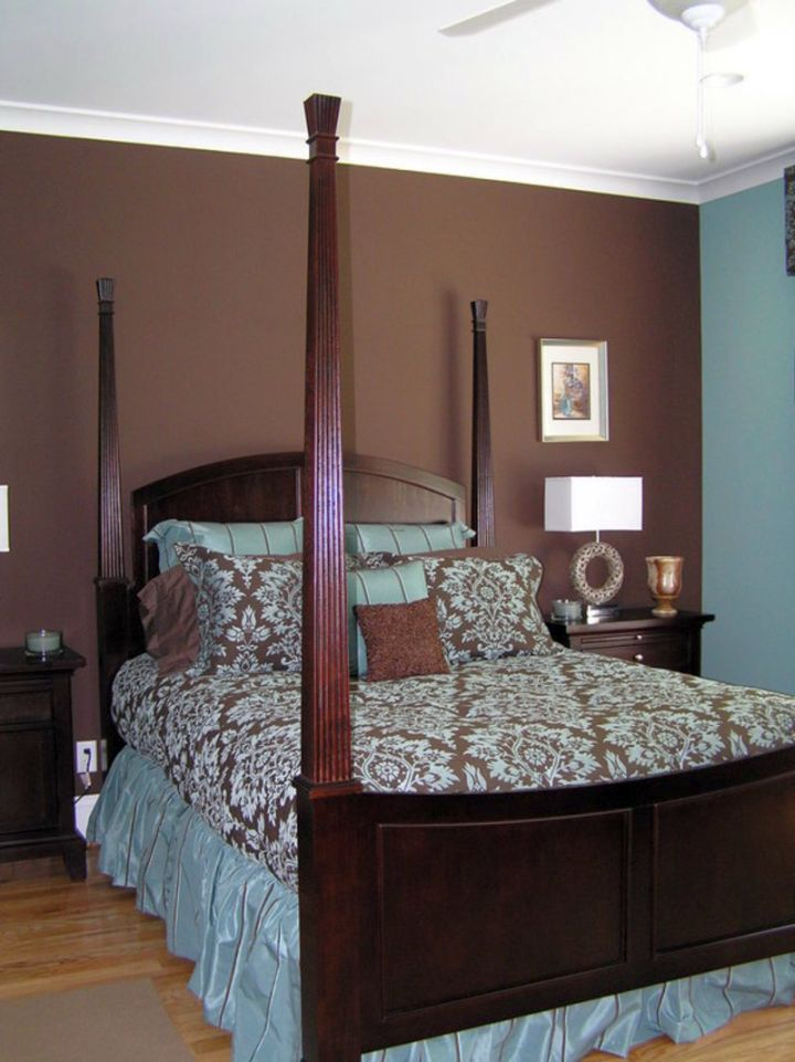 simple brown and blue bedroom