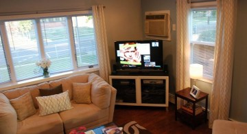 simple corner TV great room furniture layout