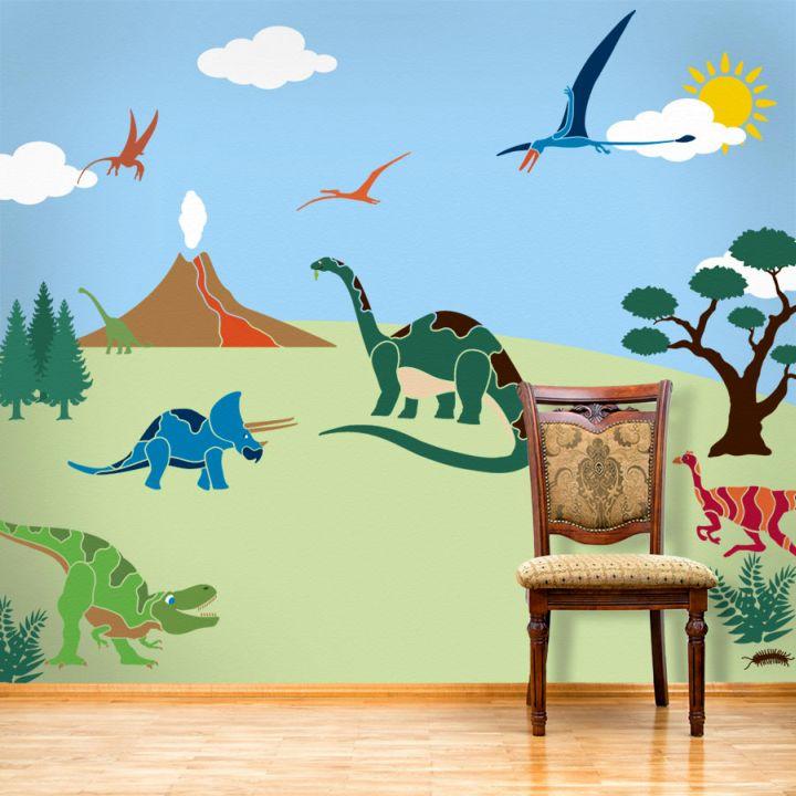 17 awesome dinosaur wallpaper mural designs for Dinosaur mural ideas