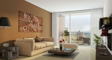 simple living room outlooking the city