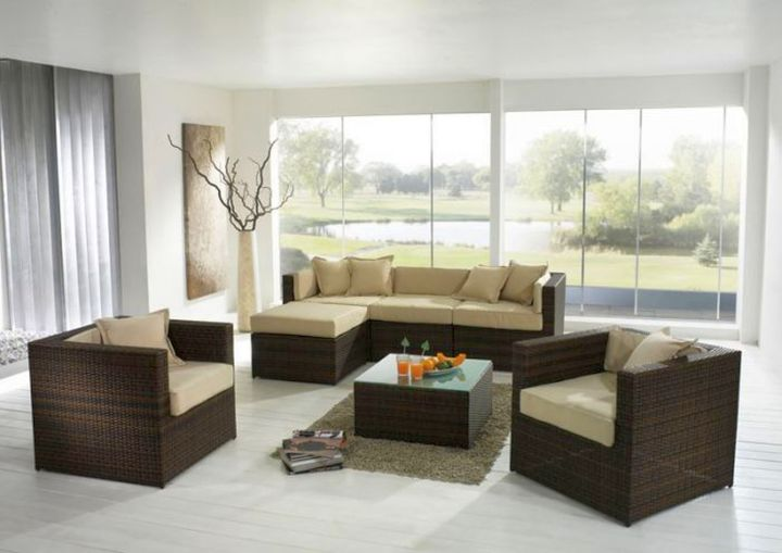 simple living room with floor vase