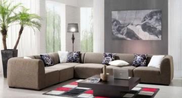 simple living room with modular sofa