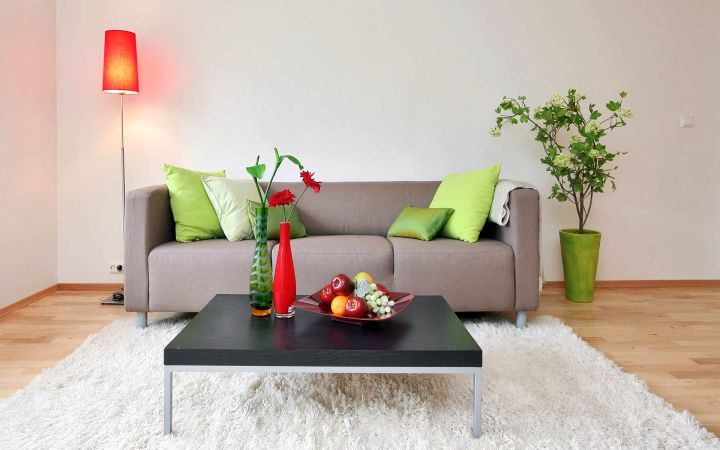 simple living room with monochrome coffee table