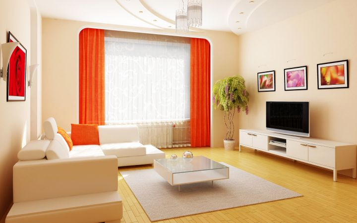 simple living room with orange red curtains