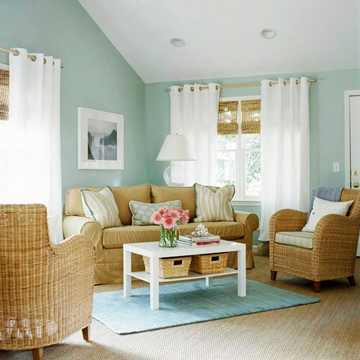 simple living room with rattan chairs
