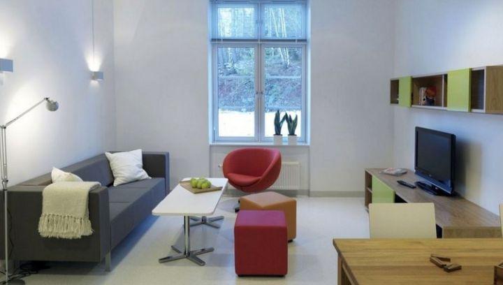 simple living room with retro sofa